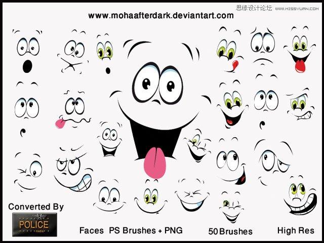 卡通可爱的面部表情笔刷