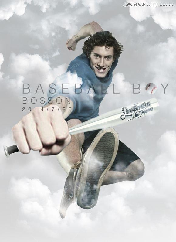 photoshop合成创意夸张的棒球男孩海报效果
