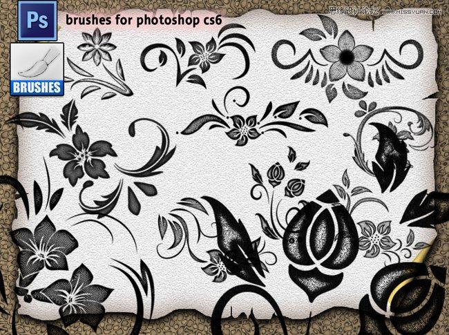 高清晰手绘鲜花和花朵笔刷 时尚的欧式花纹装饰笔刷 漂亮的水彩花朵