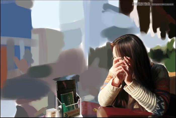 Photoshop绘制非常逼真的咖啡馆美女照片