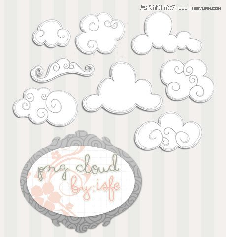 可爱的卡通云朵和云彩笔刷