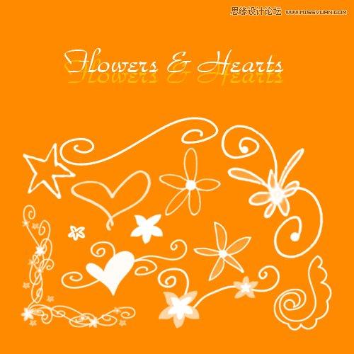 时尚手绘花边和花朵笔刷