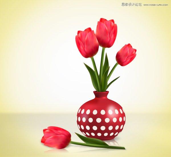 绘制时尚唯美的玫瑰花和花屏,教程主要使用ai的渐变网格工具来绘画