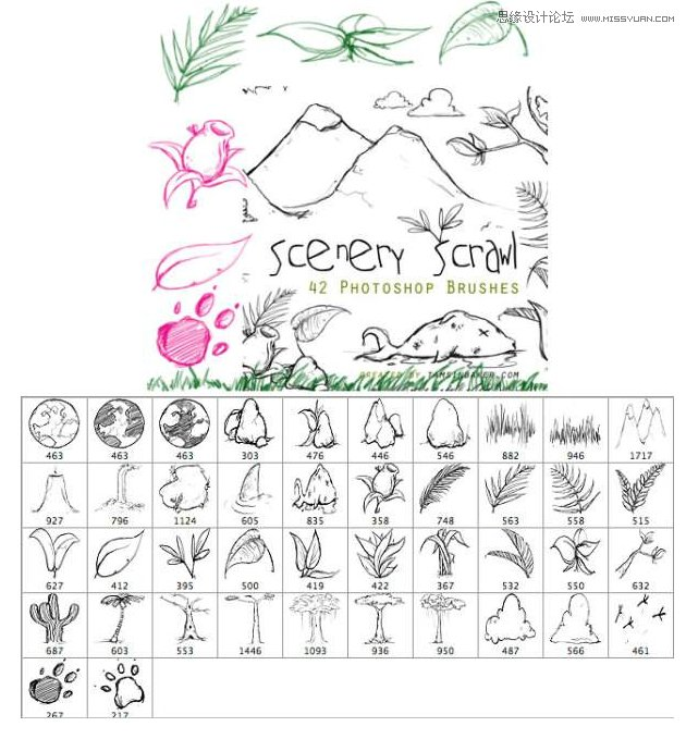3种树叶和藤叶装饰笔刷 唯美的装饰树叶笔刷 人物素描绘画线条装饰