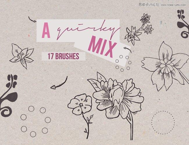 手绘线描花朵花卉装饰笔刷