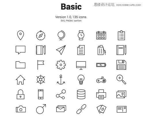 格式:svg, png64, icon font