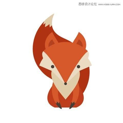 illustrator绘制复古风格的可爱卡通狐狸(3)