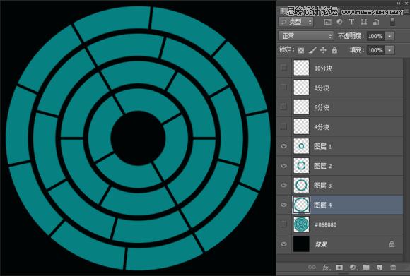 photoshop制作创意风格的同心圆扇形拼图