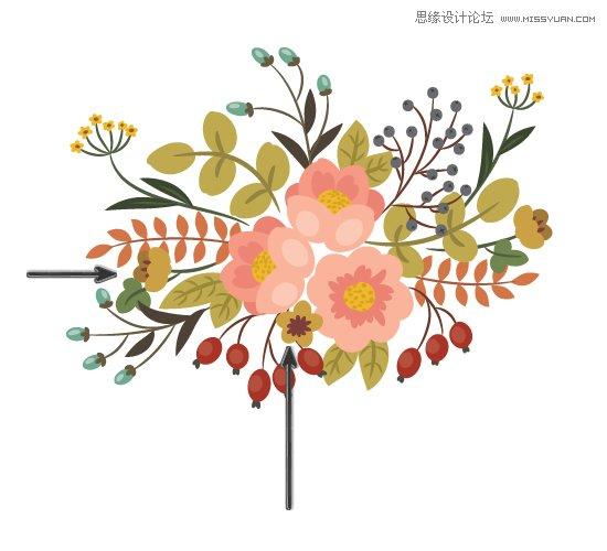 画笔工具绘制漂亮复古典雅风格的花朵花藤教程;