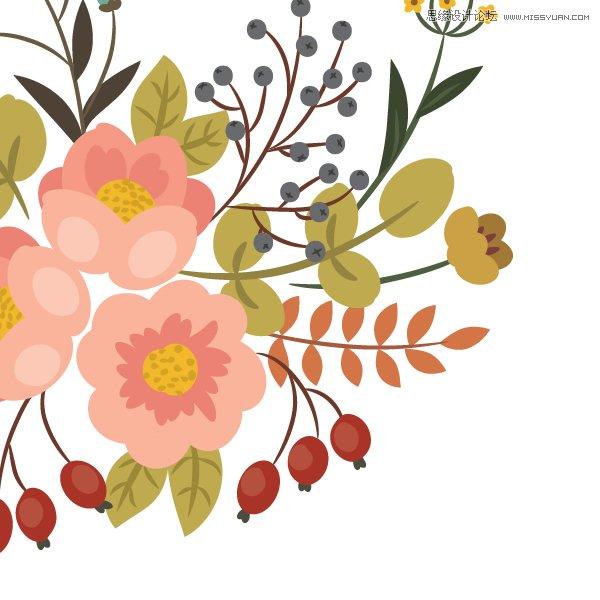 illustrator绘制复古典雅风格的花朵花藤(3)