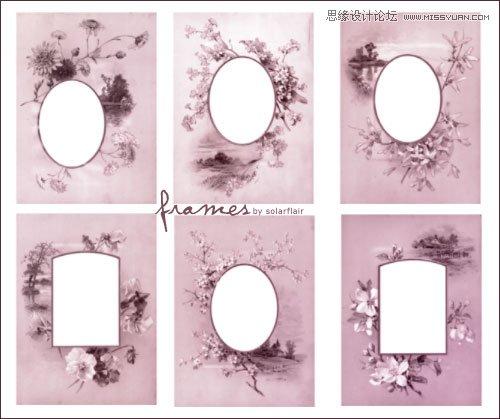 中国风古典花纹相框设计笔刷