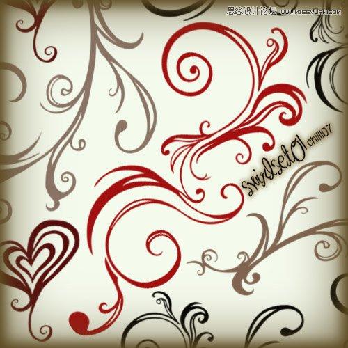 时尚手绘花纹藤蔓笔刷