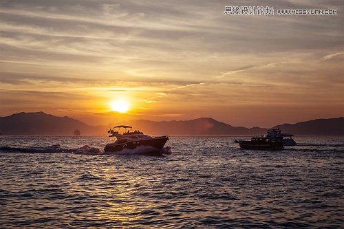 Photoshop调出海面渔船照片唯美的黄昏效果,PS教程