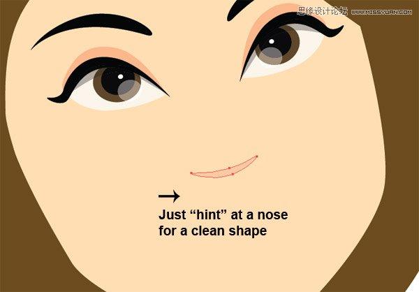 第7步 现在我们要开始绘制脸部细节。 A)画一个翅膀形状作为眼睛,并画出眼白。使用椭圆工具画几个圆作为虹膜、瞳孔及其反光。使用暗灰色画眼睛内部的阴影使其更立体,使用鲜亮的肉色画眼线。选中整个眼睛并放大,使之具有大眼卡通的效果。复制粘贴并对称,放置第二只眼睛。  B)新建一个眉毛。复制粘贴并对称。把眉毛放在刘海图层的后面以获得更好的效果。  绘制鼻子和嘴。 第8步 我们继续绘制细节 A)我们只要画个半月牙形,就可以作为鼻子了。把这个形状放到图示的位置上,可以使用之前做好的底图作为参考。  B)画上嘴唇。只画