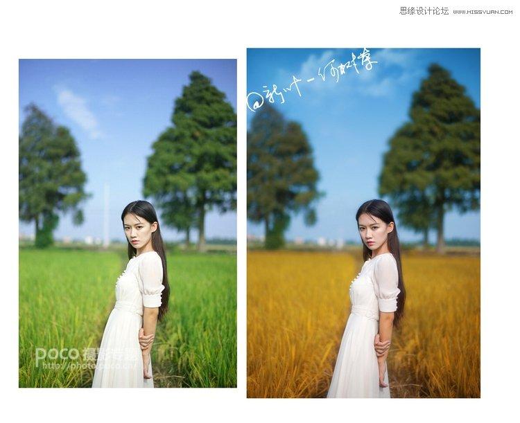 Photoshop调出人像外景秋季淡黄色调,PS教程