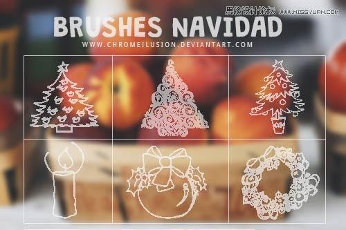 [ PSブラシ ]クリスマス ツリー ブラシのシンプルなスタイル