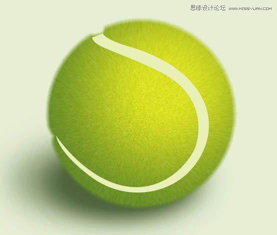 Photoshop繪製立體風格的逼真網球教程