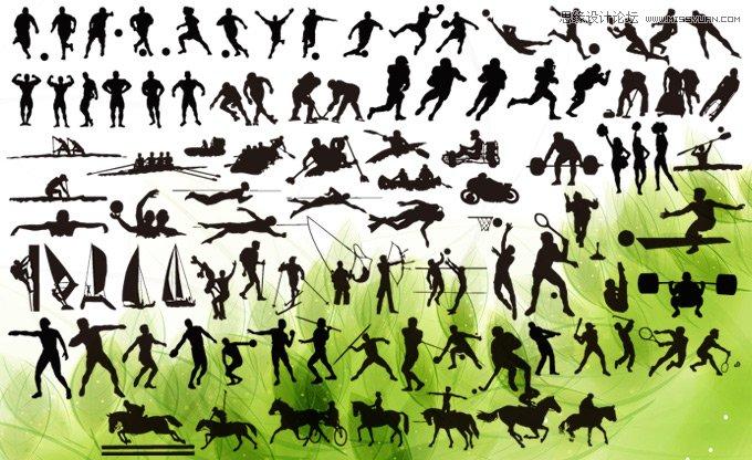 各种体育运动人物剪影ps形状