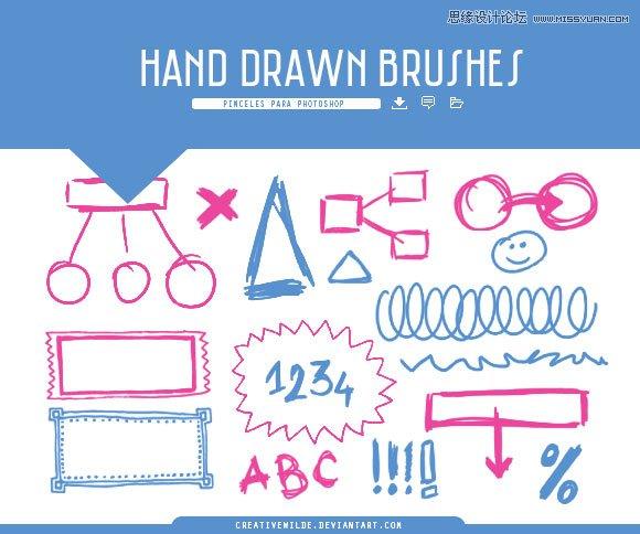手绘边框和涂鸦形状笔刷
