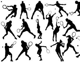 网球剪影_网球运动员动作剪影矢量素材