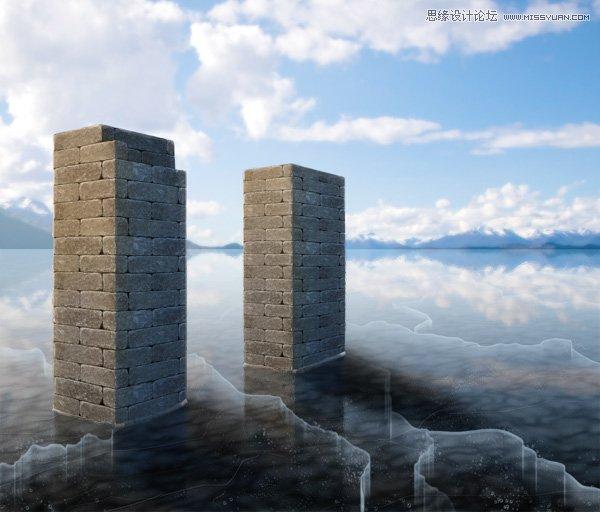 Photoshop製作冬季逼真的湖面冰層效果