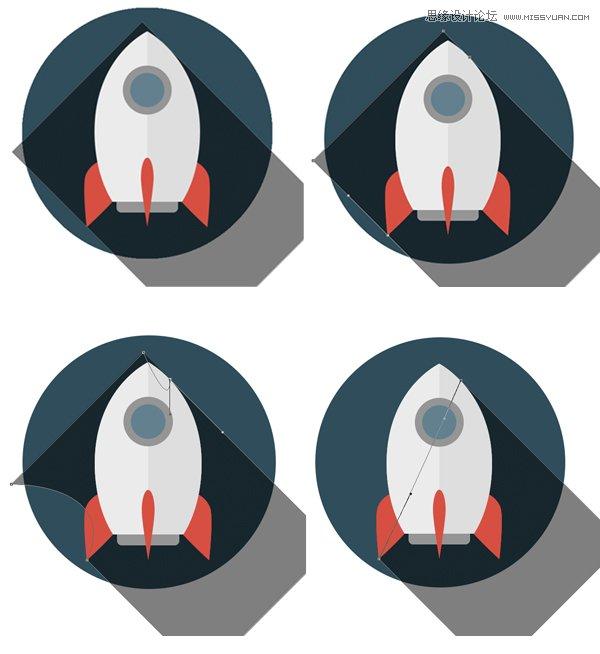 Photoshop設計扁平化風格的火箭圖標