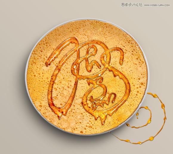 Photoshop制作可口的煎饼和蜂蜜艺术字,PS教程