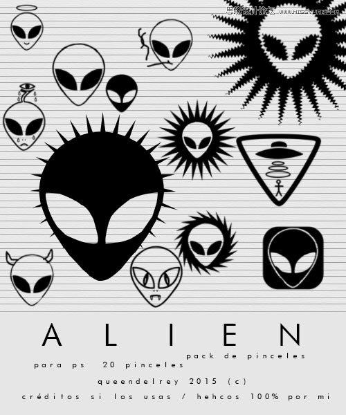 可爱的外星人头像装饰笔刷 - Photoshop笔刷免费下载 - 专业的素材下载网