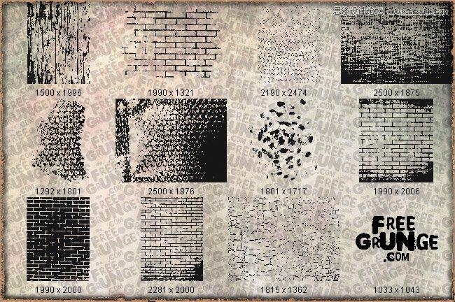 墙壁砖头纹理图形ps笔刷