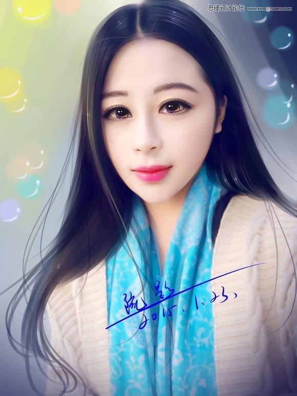 photoshop结合sai给生活照美女转手绘教程