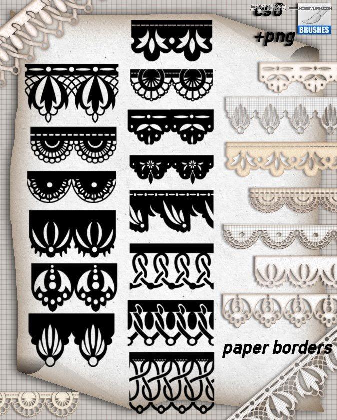 欧式蕾丝花纹边框装饰笔刷