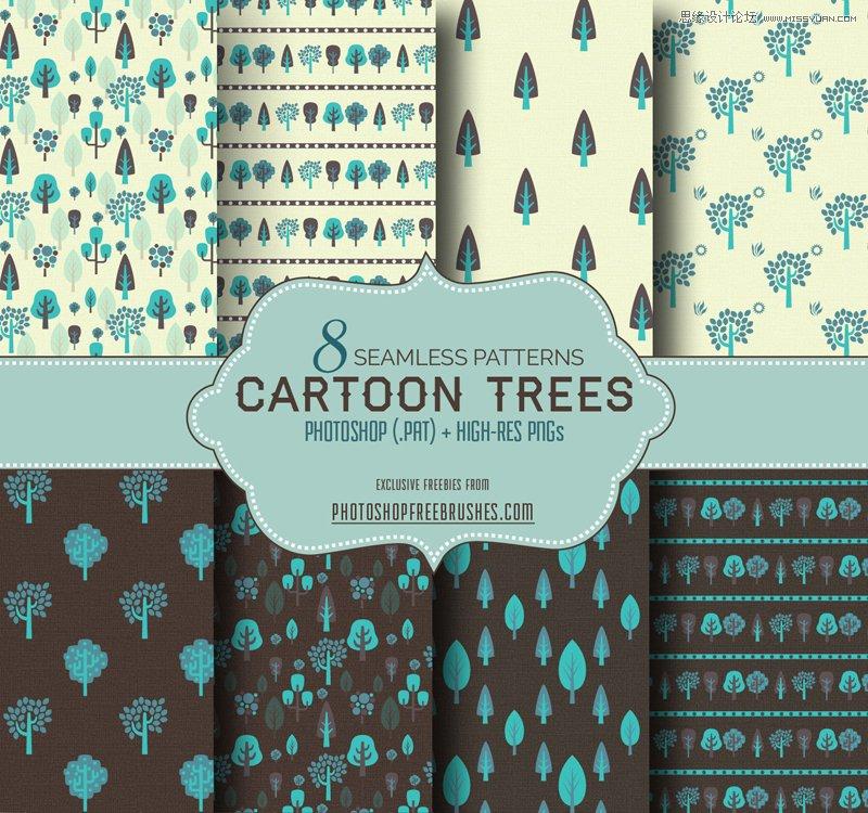 8款时尚的矢量树木背景ps图案