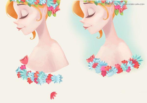 photoshop绘制带花环的清新女孩教程