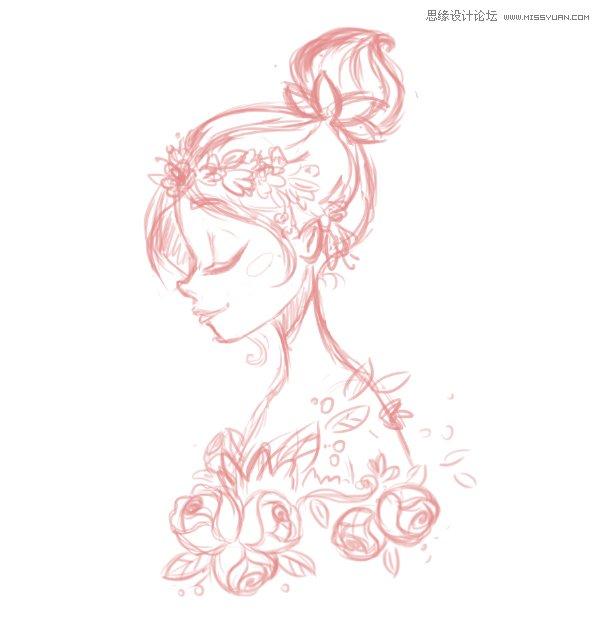玫瑰花环简笔画步骤
