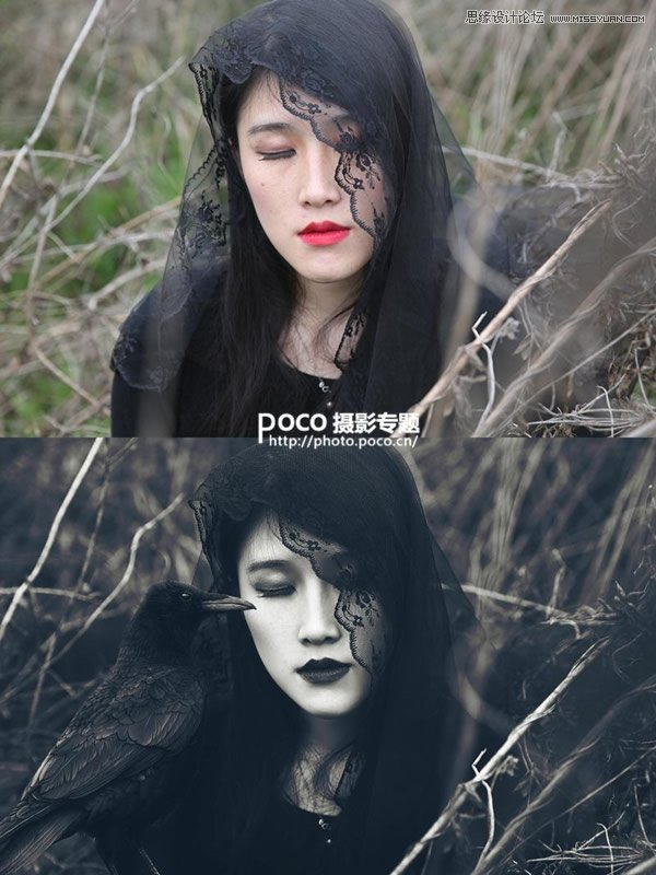 Photoshop调出外景人像创意的暗黑系效果,PS教程