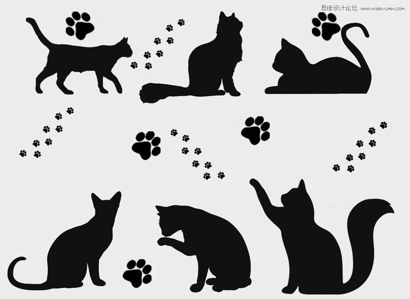可爱的猫咪剪影和猫爪印ps笔刷