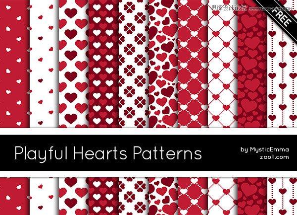 红色爱心和格子背景ps填充图案