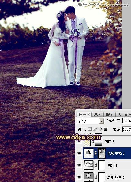 Photoshop调出梦幻紫色效果的外景婚纱照