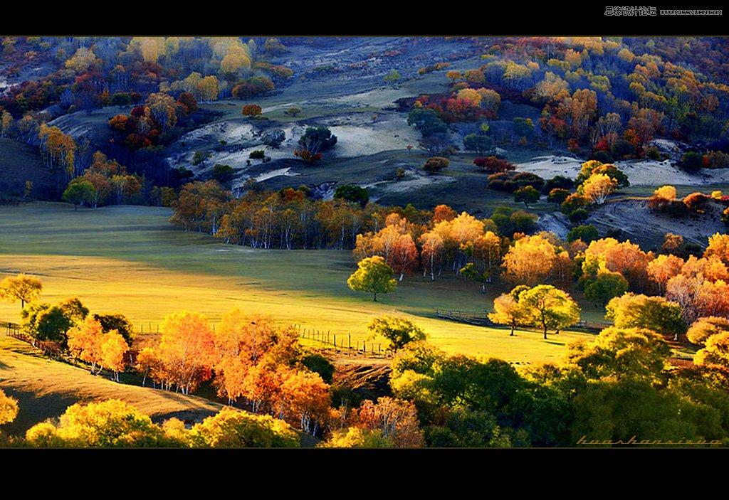 photoshop调出风景照片秋季艺术黄色调