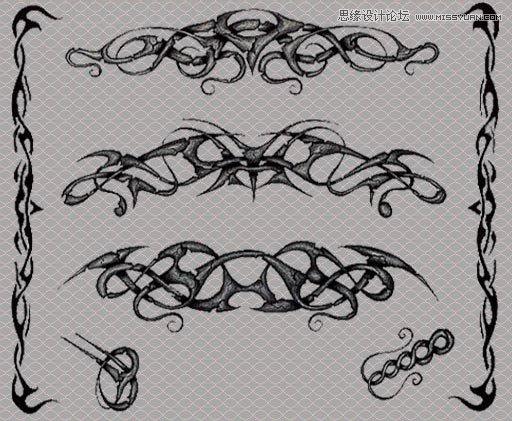 手绘纹身花纹图案效果ps笔刷