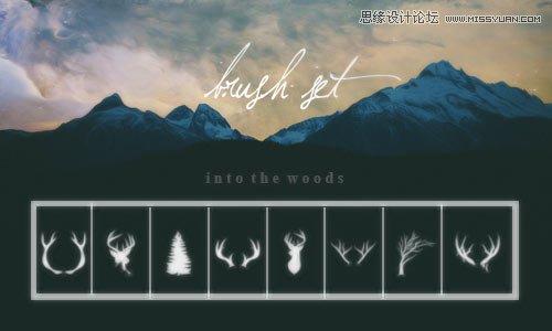 [ PSブラシ ]鹿のシルエットとアントラーズ効果 PS ブラシ
