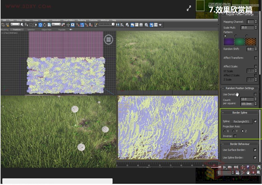 3DS MAX建模功能是多么的强大,可以制作出任意一种龙纹角色,但要建造出生机迥然,姿态万千的自然景观呢,包括地形,树木,海洋等,还是要借助于外部插件了噢,网上看到种树的插件非常多,像Forest森林植物插件,一键解决生成逼真草地的插件如AutoGrass,SpeedTree树木制作插件,xfrog 超强的做树插件,Natfx 植物仿真插件等等,在此我就不再一一列举了。