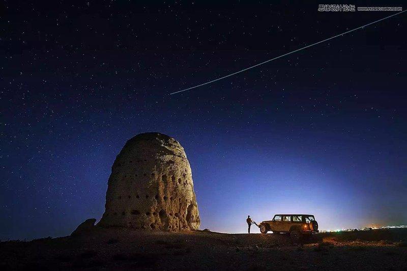 photoshop调出戈壁风景照片唯美的蓝色星空效果