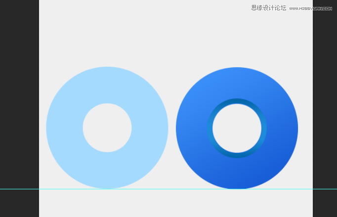填充颜色 a5daff  添加蒙版,拉个黑到白色的渐变,拉出这样的效果,如果拉不出这样的效果就用笔刷调整好 透明度慢慢擦。  覆盖到大圆上面,把添加蒙版的这个圆形向下向右各移动一个像素,让整体具有立体感  ok我们来画云。按U椭圆工具和矩形工具依照下图所示画。记住每个形状都必须是单独的图层  按P钢笔工具勾出这个形状。  这时候把云朵填充白色,先随便复制出一个圆形,添加蒙版填充颜色 (颜色数值a5daff)按照刚才的方法擦擦 or 加渐变拉。擦出如图形状  覆盖到原来的圆形的上面,其他两个圆也按照如上,复