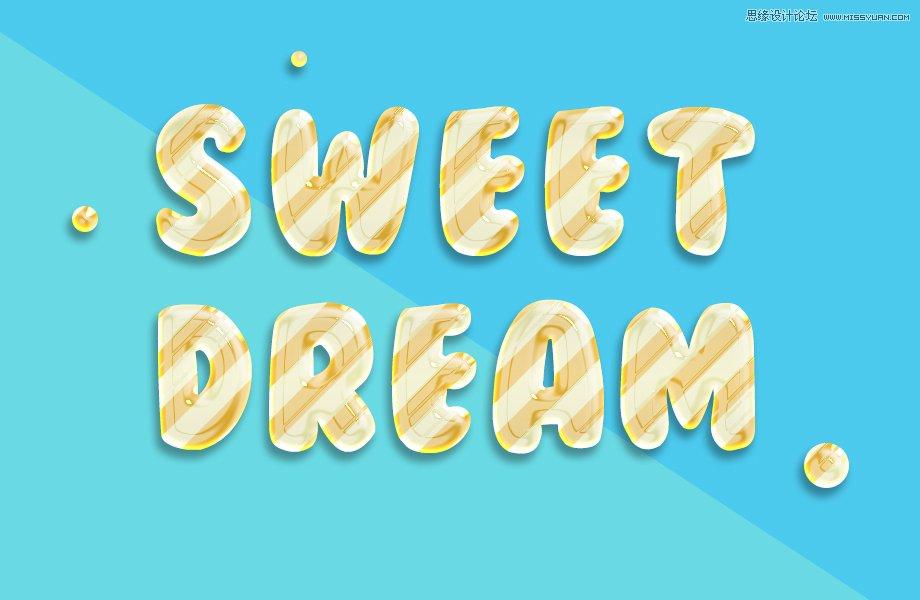 photoshop设计清新可爱的3d糖果文字效果