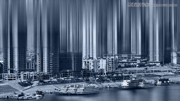 shop 制作城市建筑物 抽象拉伸效果 专业