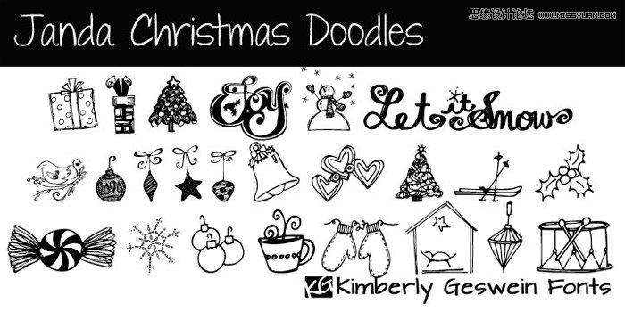 20款圣诞节主题风格英文字体打包下载(免费) - ps素材