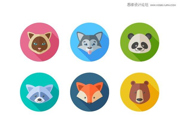 化风格的动物卡通头像