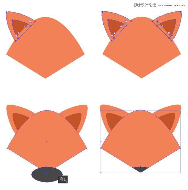 illustrator绘制扁平化风格的动物卡通头像