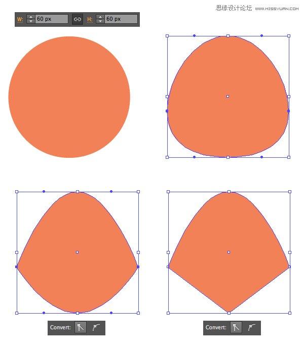 6.制作一个狡猾的狐狸 第1步 再一次,我们先从我们熟悉的60 x 60 px的橘色圆中形成狐狸的脸。 将2边的锚点向下推动一点并将其转换成锐角,使脸的侧面变尖。 转换下面的锚点转换成角然后形成一个尖鼻子。  第2步 从我们浣熊图形中选取耳朵并将其放置到狐狸头部的两边,调整颜色。 将黑色的椭圆放在脸的底部,覆盖住鼻子区域。 使用形状生成工具(Shift-M)除去脸外面的部分,形成一个黑色的尖鼻子。  第3步 创建一个椭圆,如下图所示,与狐狸脸的左边叠加。 使用镜像工具(O)在相反的一边制作一个翻转的复本。